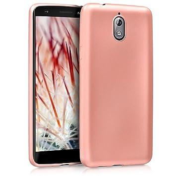 kwmobile Funda para Nokia 3.1 (2018) - Carcasa para móvil en TPU Silicona - Protector Trasero en Oro Rosa Metalizado