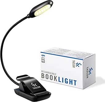 TAZLER 6 Warm LED Book Light Rechargeable Reading Light 3-Level Brightness and Eye Care Clip Lamp up to 60 Hours Perfect for Kids and Bookworms, Lightweight for Reading in Bed, Travel, Music Stand