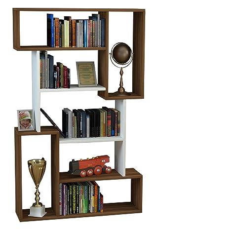Scaffali Per Libri Design.Homidea Corgin Libreria Scaffale Per Libri Scaffale Per Ufficio Soggiorno Dal Design Moderno Noce Bianco