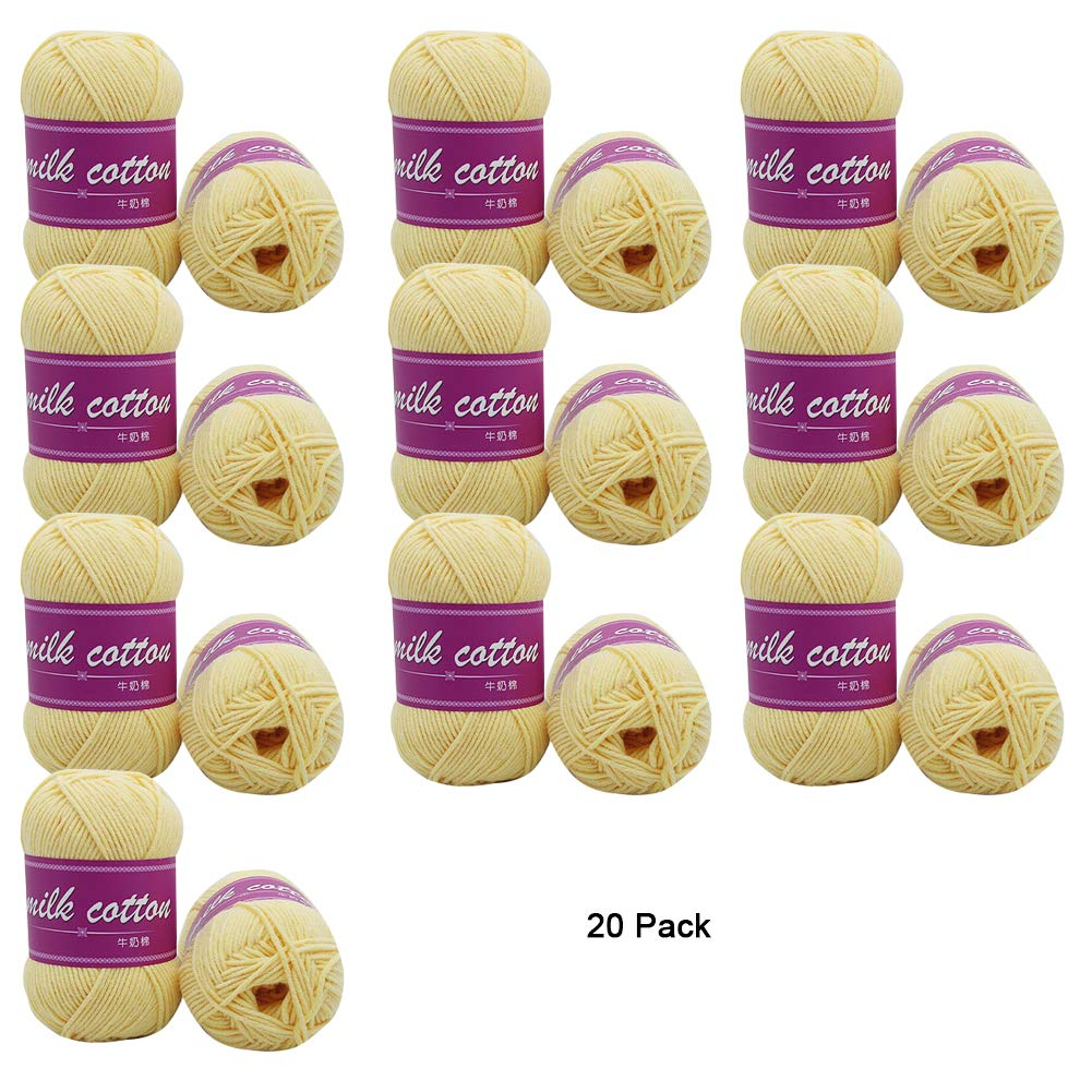 Mediumyellow 20 Skeins Soft Yarn for Crochet Knitting and Crafting Assorted colors Milk Cotton 1 Kg Total,Darkbluee