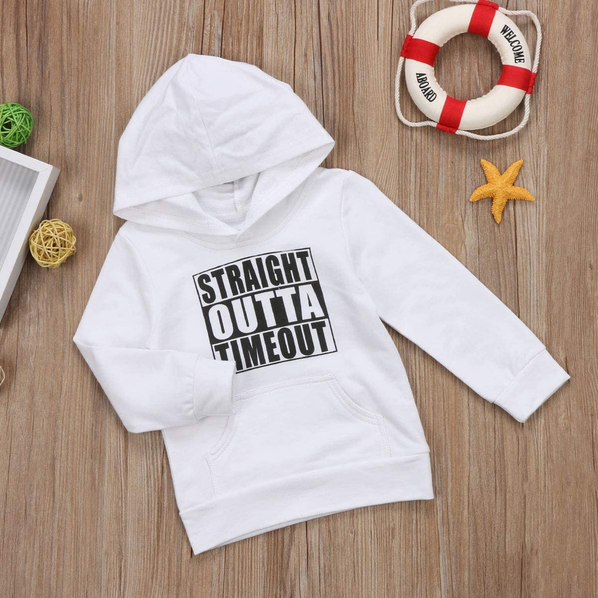 Toddler Newborn Boy Girl Mini Boss Hoodie Tops Hooded Sweatshirt Pullover with Pocket Outfit