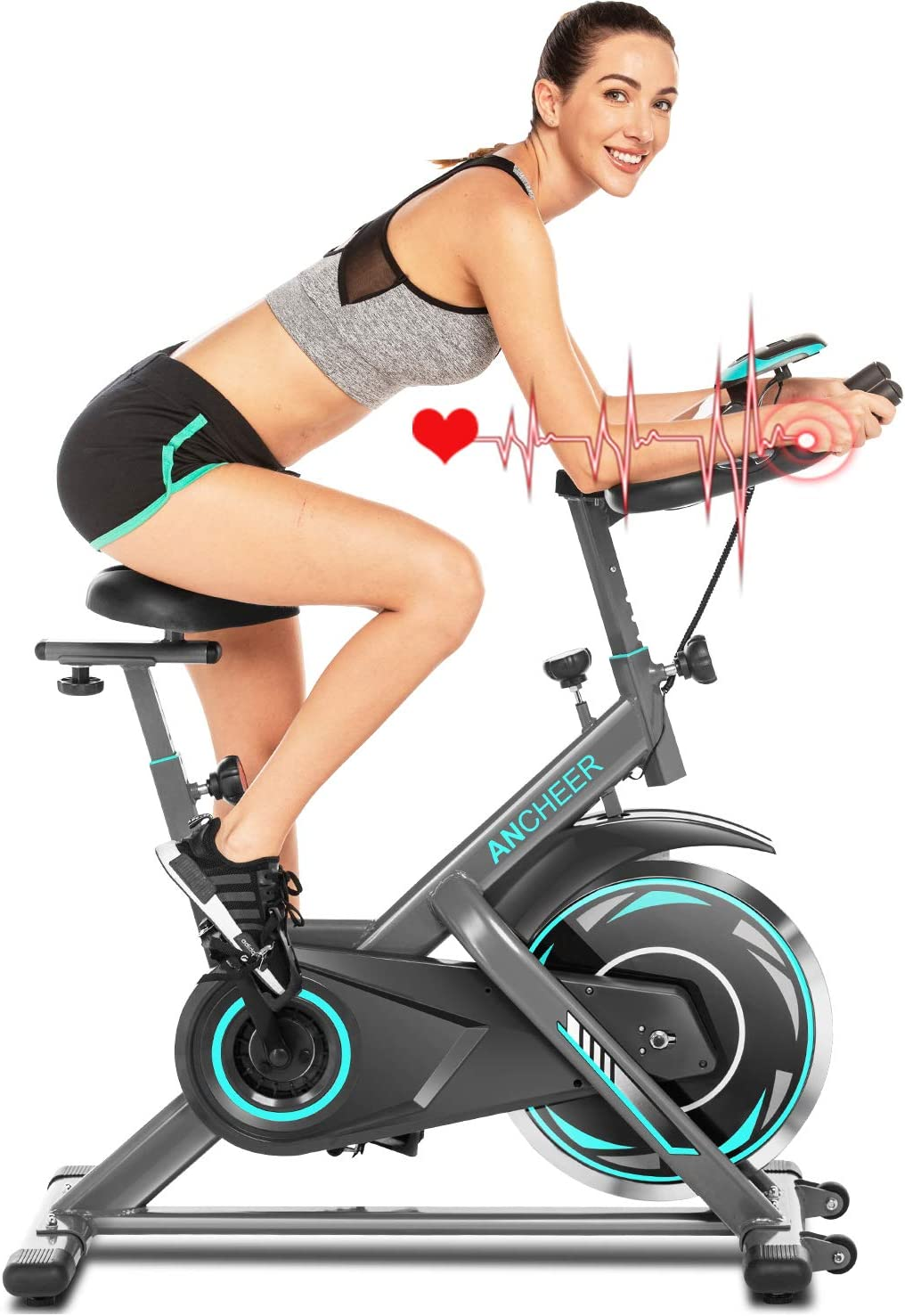 Ancheer Bicicleta de Spinning Bicicleta de Fitness de Volante de Inercia de 18kg Bicicletas de Ciclo Indoor con App Conectable Resistencia Ajustable y Monitor LCD para Ejercicio en el Hogar