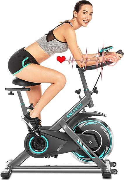 ANCHHER Bicicleta de Spinning Bicicleta Indoor de Volante de Inercia de 18kg Conecto con App Resistencia Ajustable y Monitor LCD para Ejercicio en el Hogar (Plateado (Volante de inercia 18kg)): Amazon.es: Deportes