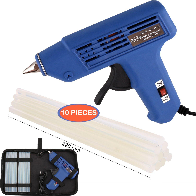 Hot Glue Gun, Full Size (Not Mini) 70/150W Dual Power High Temp Heavy Duty Melt Glue Gun Kit with 10 Pcs Premium Glue Sticks(0.43'' x 8.7'' ) for Arts & Crafts Use,Christmas Decoration /Gifts