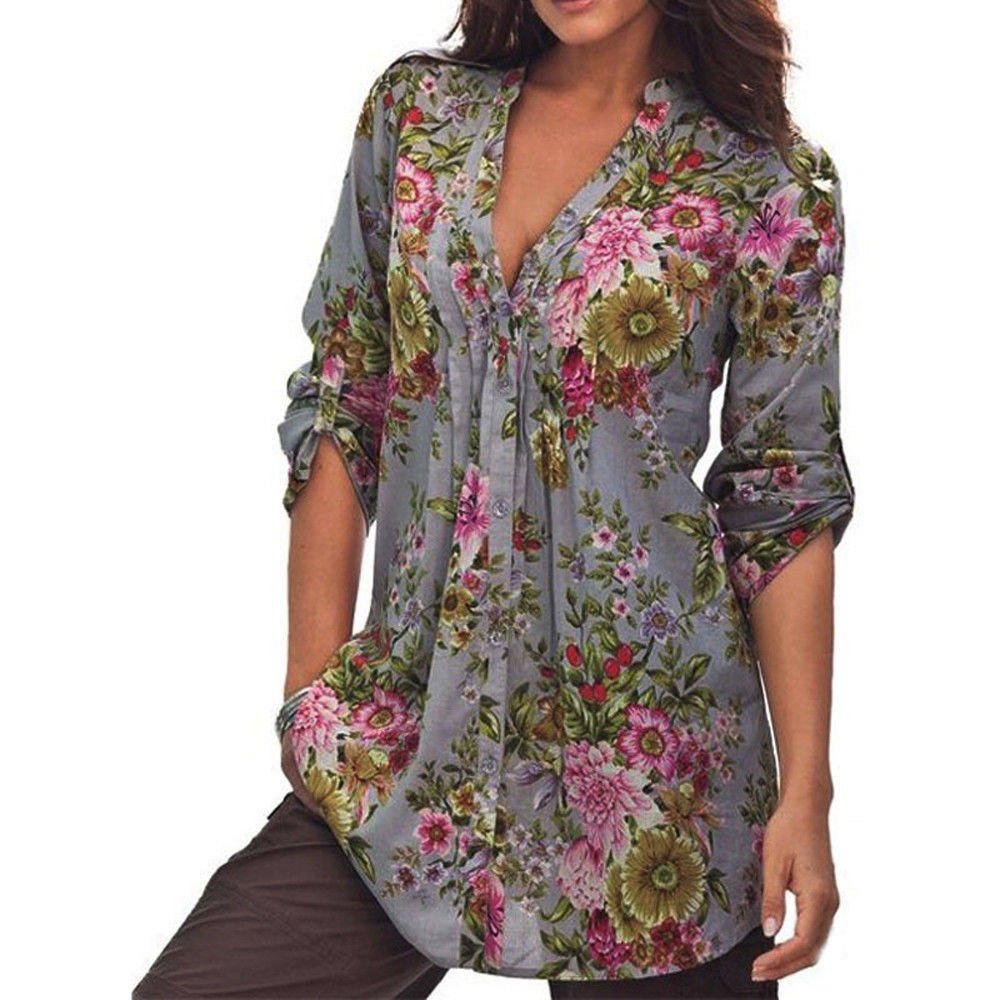 WUAI Floral Shirts for Women, Plus Size Vintage V-Neck Loose Fit 3/4 Bell Sleeve Chiffon Tunic Tops Blouse S-6XL(Gray,XXXX-Large)