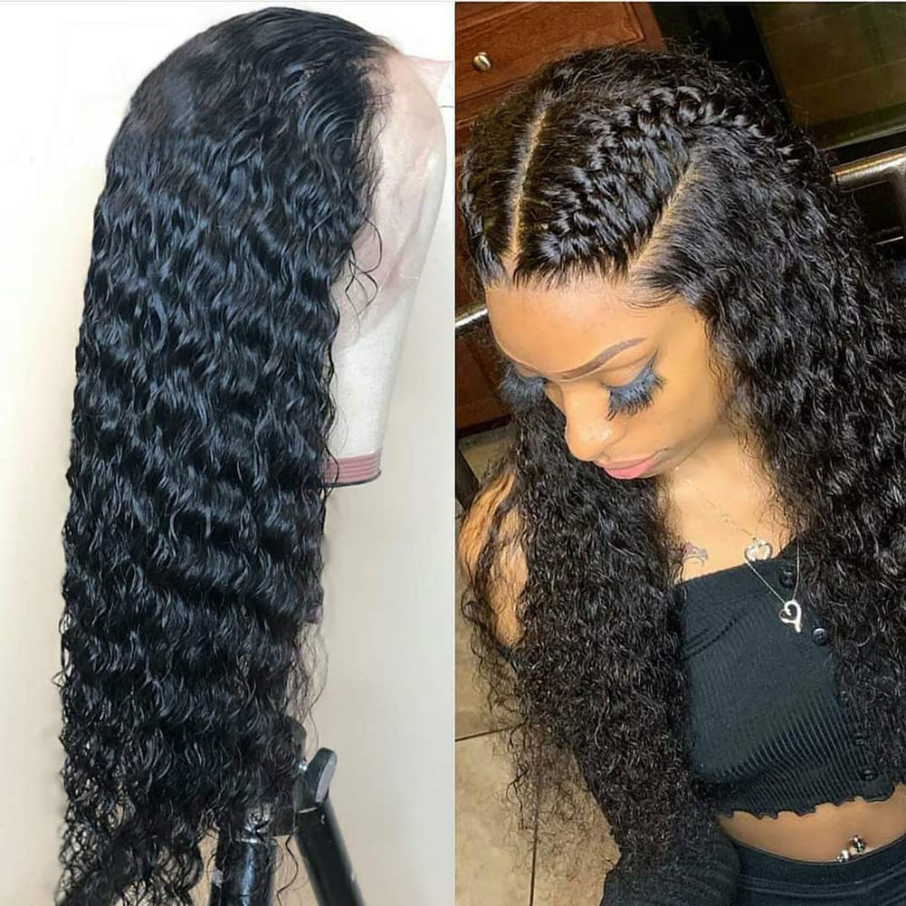 Lace Frontal Wigs Human Hair Wigs with Baby Hair Pre-plucked Hairline Deep Wave Glueless Lace Front Wigs for Black Women Natural Color 130% Density 12 inch by WAKEQUEEN