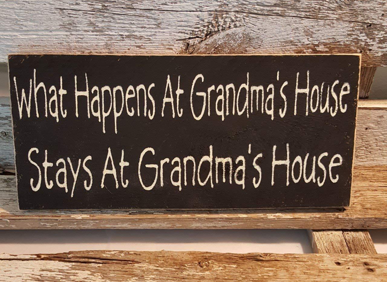 Wooden Wall Sign Plaque What happens at Grandmas Stays at Grandma Gran