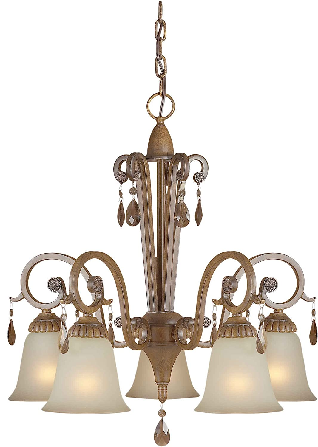 Forte Lighting 2390-05-41 Chandelier with Shaded Umber Glass Shades Rustic Sienna 22.5 x 23 x 22.5
