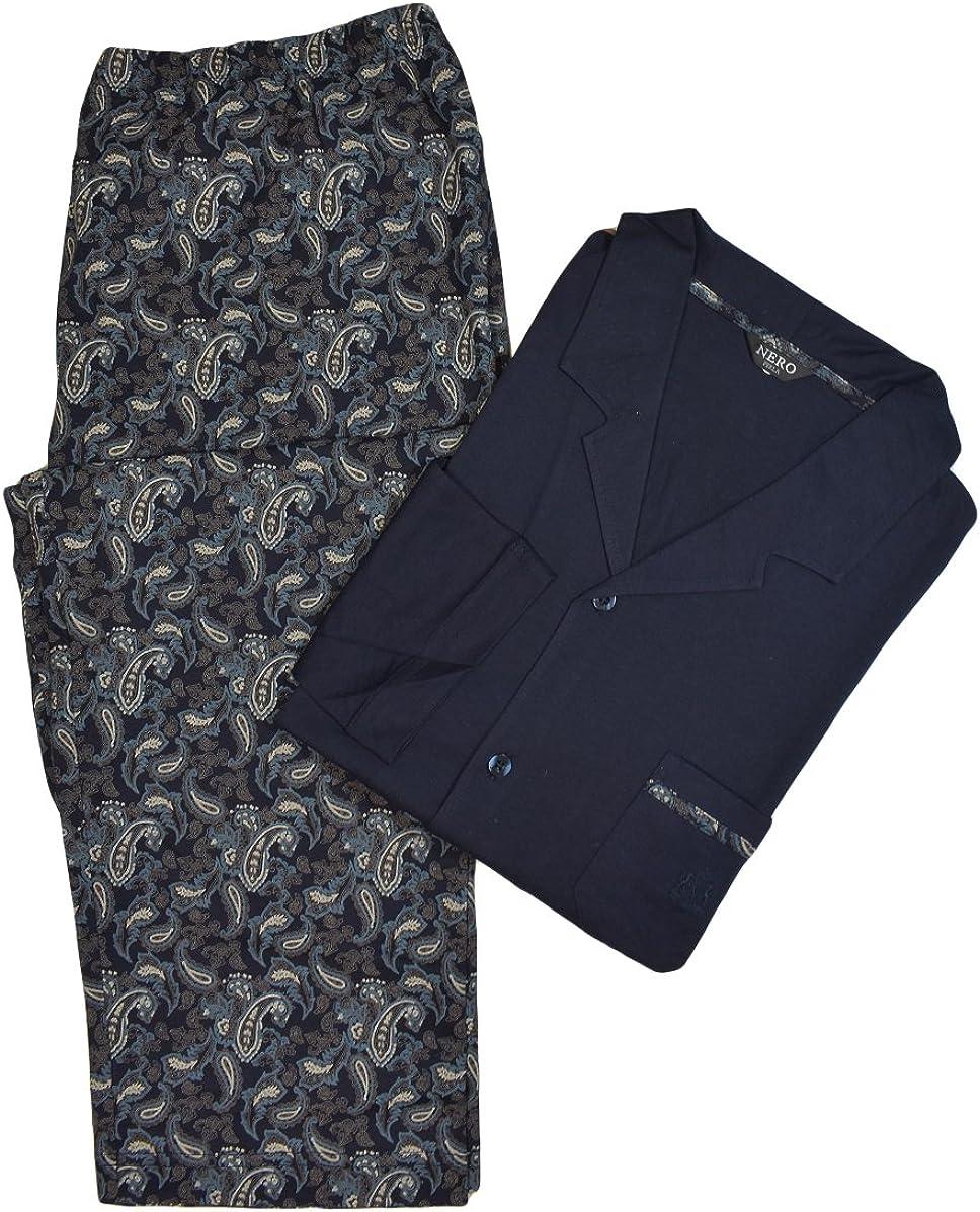 Nero Perla Navy Paisley Cotton Pajama Set