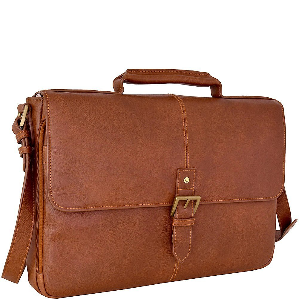 HIDESIGN Charles Leather 15'' Laptop Compatible Briefcase Work Bag, Tan