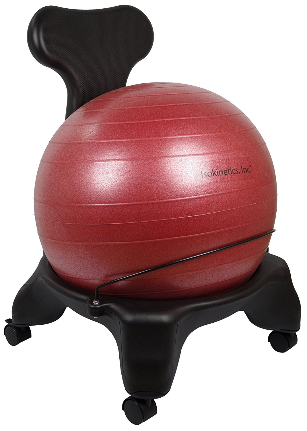 Isokinetics Inc. Balance Exercise Ball Chair - Red 52cm Ball - Standard Height Frame - Office size 60mm/2.5'' wheels - Adult Size by Isokinetics