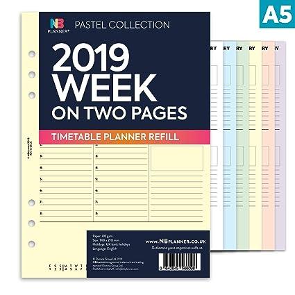NBplanner® 2019 planificador semanal de dos páginas con ...