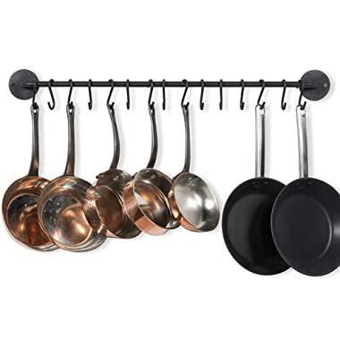 Wallniture Pot Pan Lid Rack Hanging Utensils Rail with Hooks Iron Black 33 Inch