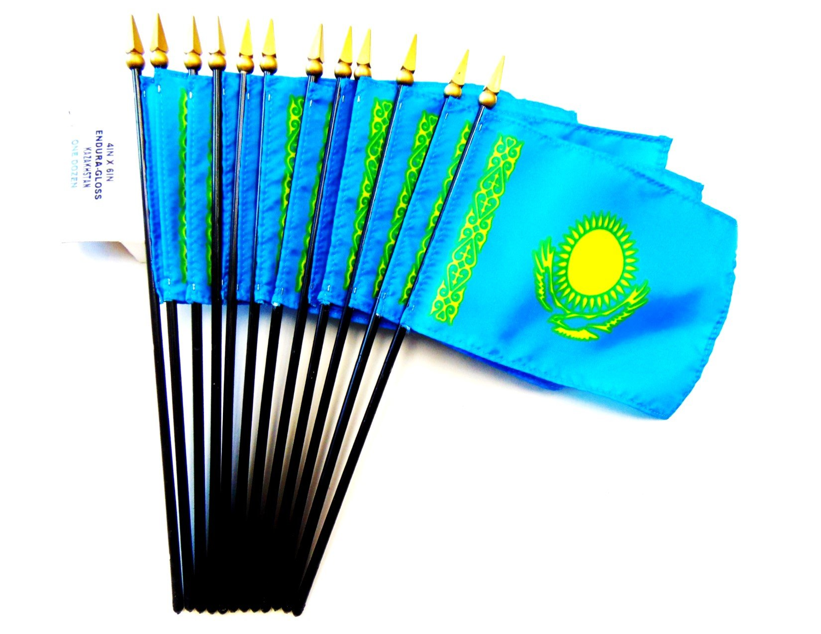 MADE IN USA!! Box of 12 Kazakhstan 4''x6'' Miniature Desk & Table Flags; 12 American Made Small Mini Kazakh Flags in a Custom Made Cardboard Box Specifically Made for These Flags