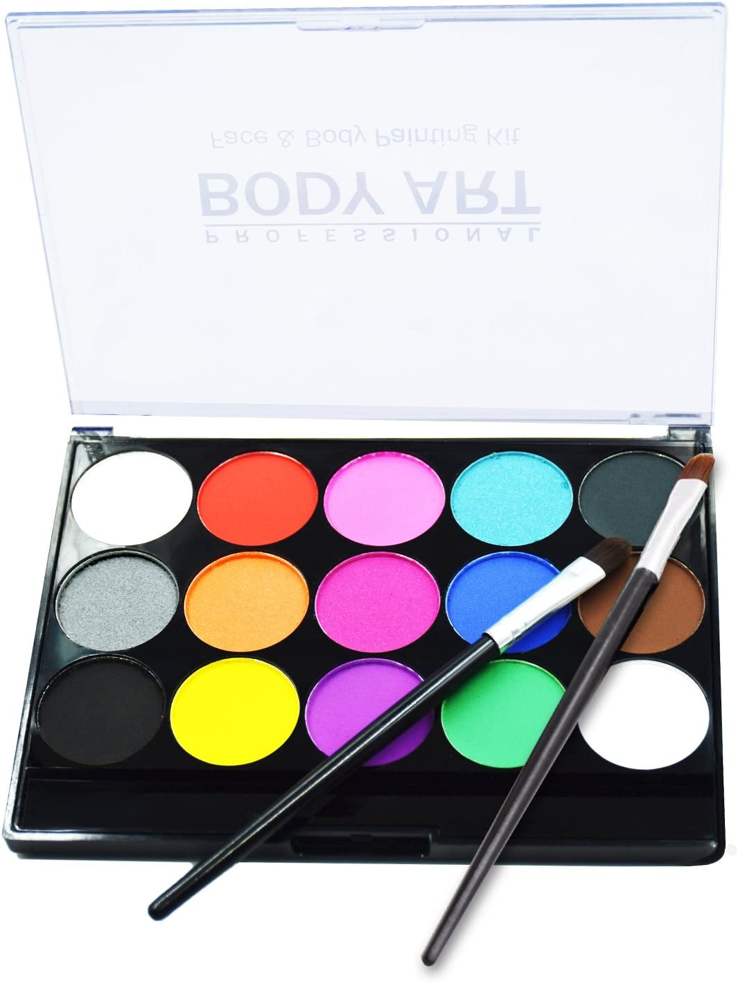 Amazon Com Face Body Paints Kits Kids Hypoallergenic Make Up Palette Safe Non Toxic Ideal For Halloween Party Face Painting Easy To Wear And Remove 15 Colors With Two Fine Brush