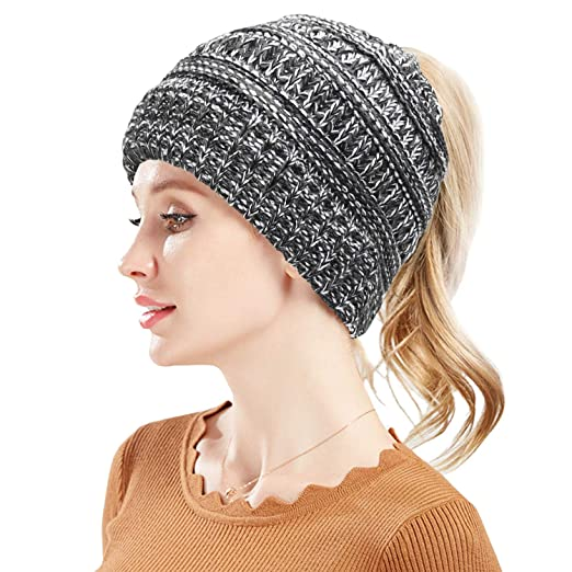 Fantastic Zone Womens Winter BeanieTail Warm Stretch Cable Knit High ... ed406cd726