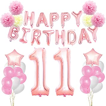 KUNGYO 11th Birthday Decorations Kit Rose Gold Happy Banner Giant Number 11 And