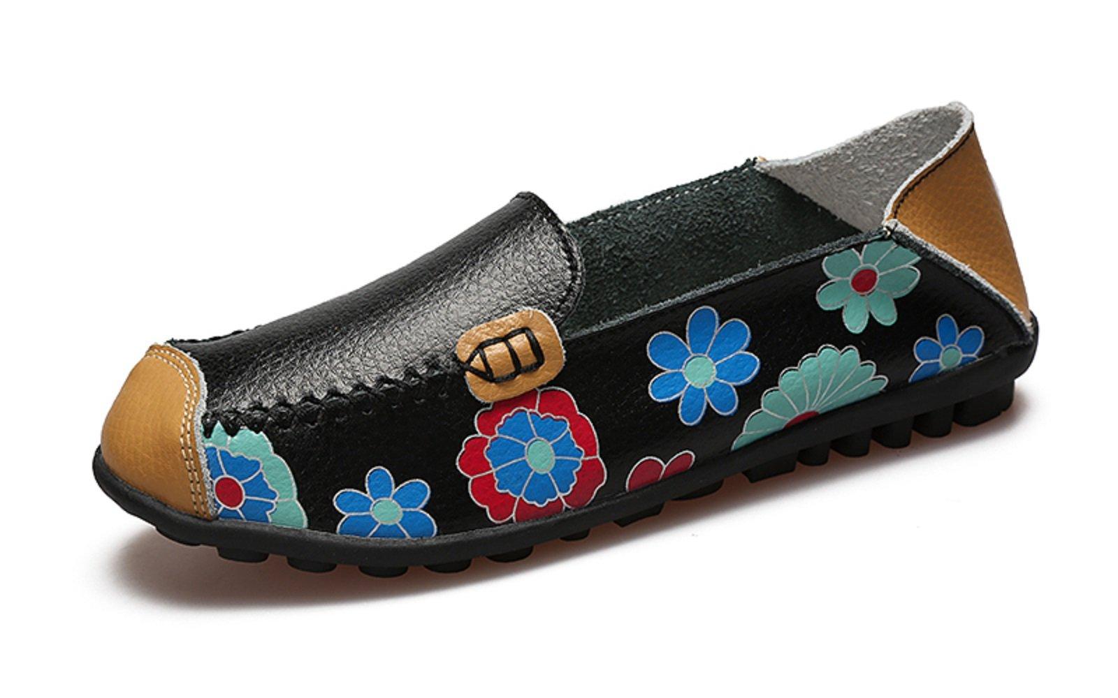 VenusCelia Women's Floral Comfort Walking Flat Loafer(5.5 B(M) US,Black-f)