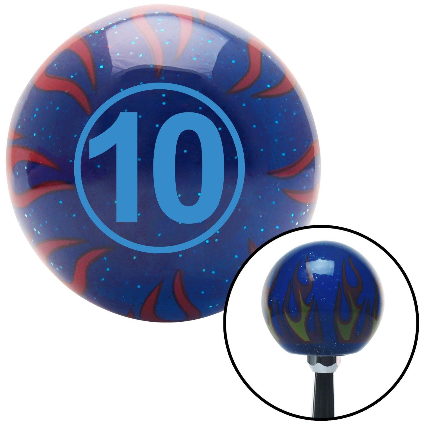 Blue Ball #10 American Shifter 244578 Blue Flame Metal Flake Shift Knob with M16 x 1.5 Insert