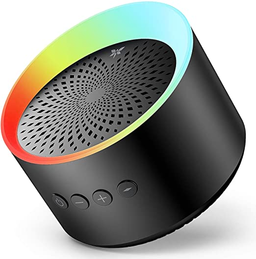 Bluetooth Speaker with Colorful Lights, Axloie Speakers Bluetooth Wireless with Deep Bass and Stereo Sound, 12 Hours Playtime, TWS, Support TF Card/AUX, Built-in Mic for Home Outdoor Party Travel
