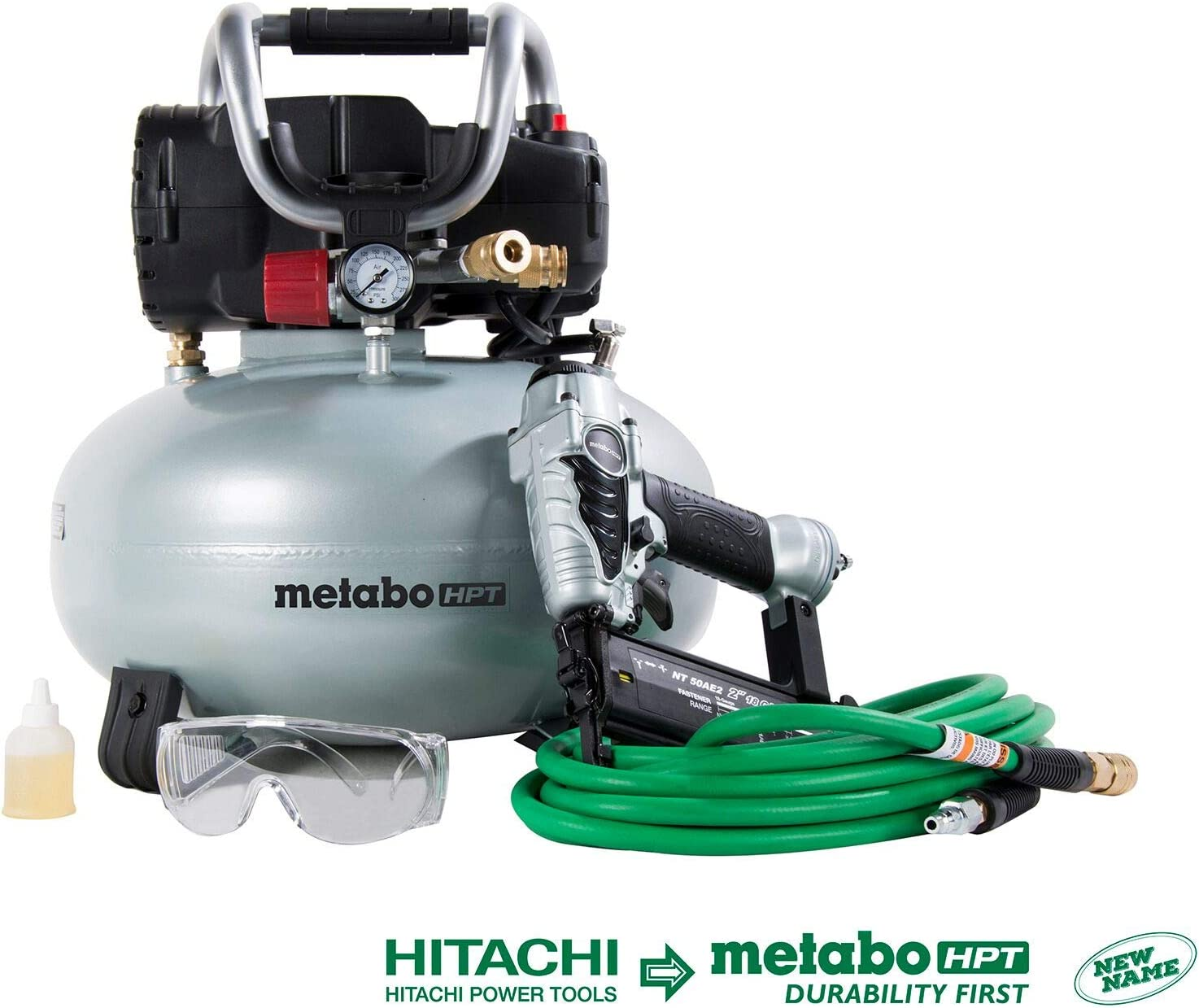 3.      Metabo HPT KNT50AB Brad Nailer & Portable Air Compressor