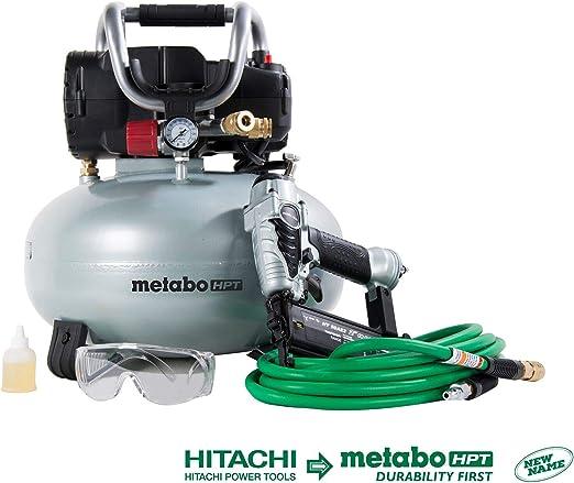 Metabo Hpt Knt50ab Brad Nailer Portable Air Compressor Combo Kit 6 Gallon Oil Free Pancake Air Compressor Nt50ae2 18 Gauge Brad Nailer Includes