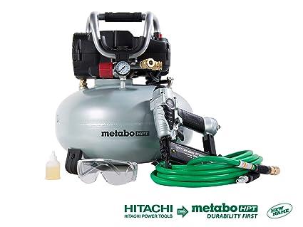 Metabo HPT KNT50AB Brad Nailer & Portable Air Compressor Combo Kit, 6-Gallon Oil