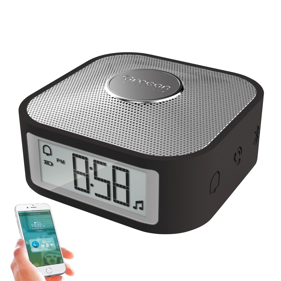 Digital Travel Clock with USB Charging Port for Heavy Sleepers, Portable Alarm Clock with Bluetooth Speaker (Black)