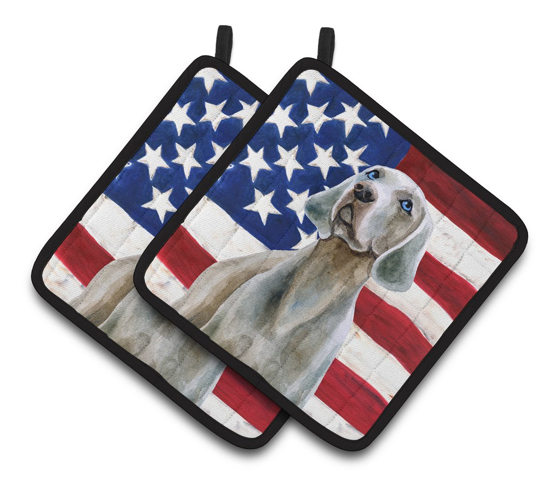 7.5H x 7.5W Carolines Treasures BB9710PTHD French Bulldog Black White Patriotic Decorated pot holder USA American Flag