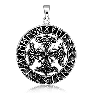 2de15f042 925 Sterling Silver Viking Amulet The Helm Of Awe Hammer of Thor ...