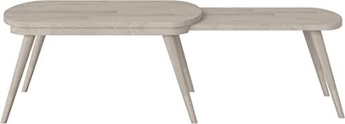 Domesis Modern Nesting Wood Cocktail Table in White Wash