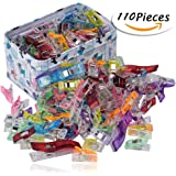 Wonder Clips--RAGNAROS Multipurpose Sewing Clips For Quilting Crafting With Tin Box ,Assorted Colors ,110 Pack 2 Size(100 Small +10 Large)