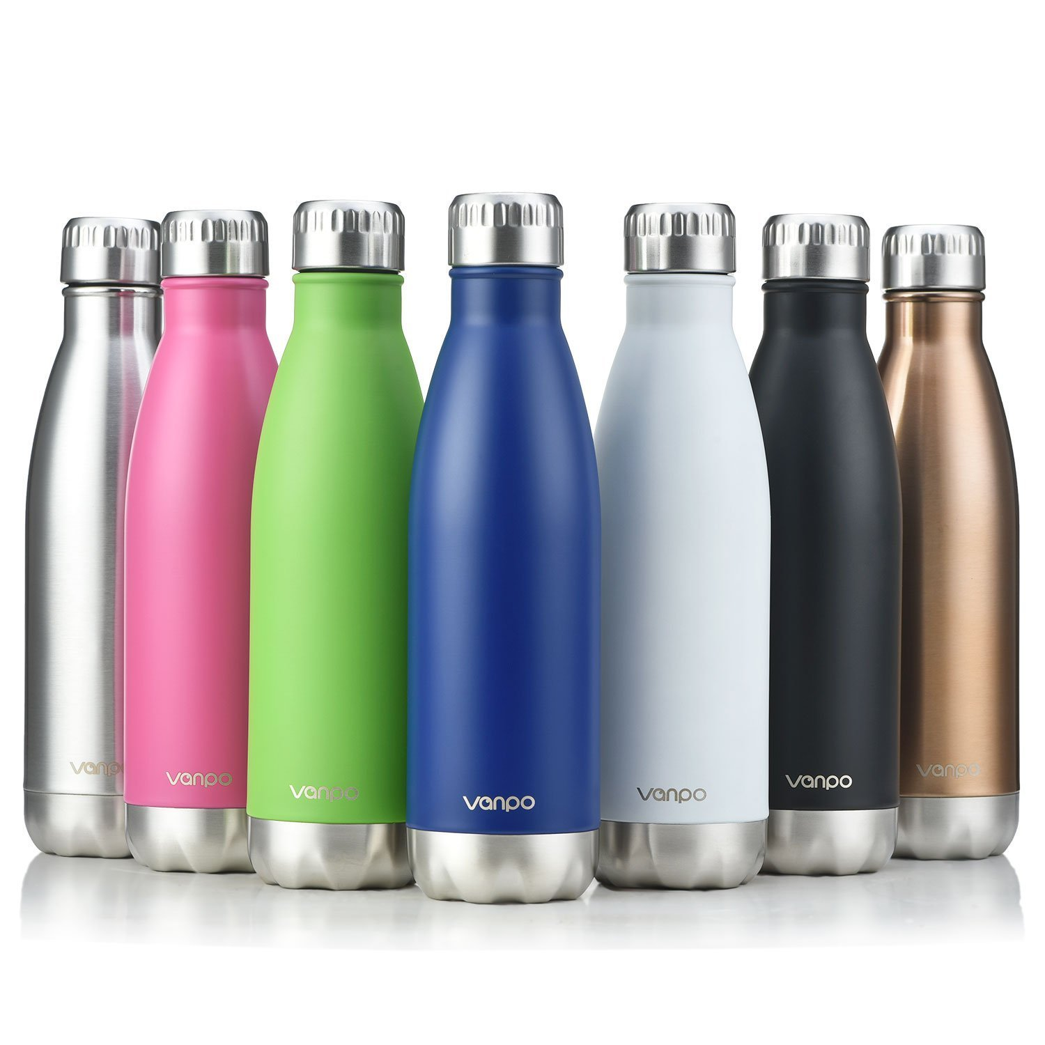 vanpo Vacuum Insulated Water Bottle Double Wall Stainless Steel Cola Shape Bottle 17OZ Keeps Drinks Cold for 12 Hours & Hot for 8 Hours,NO Sweating,Silver