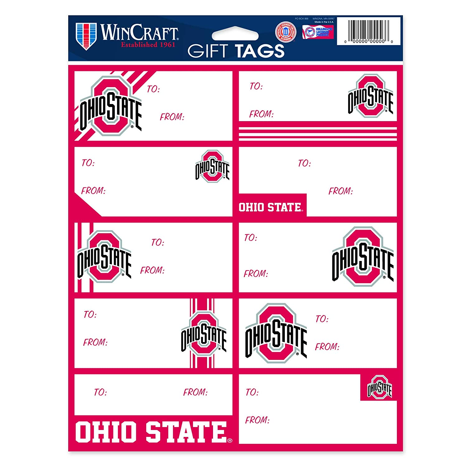 WinCraft NCAA-Gift Tag Sheet