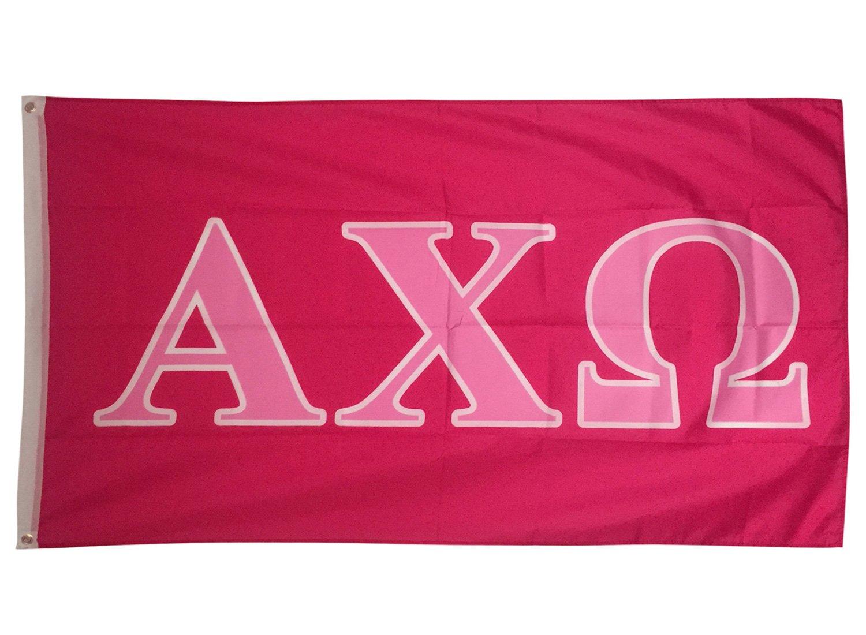 Alpha Chi Omega Dark Pink/Light Pink Letter Sorority Flag Banner Greek Letter Sign Decor AXO