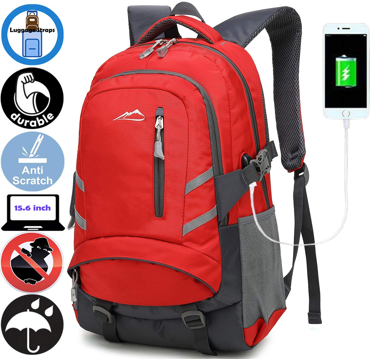 ANTSANG Backpack Bookbag for School Student College Business Travel with USB Charging Port (Red)