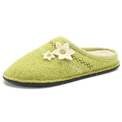 LE KAPMOZ Women's Boiled Wool House Slippers Breathable Sweat Free Clog Slip on Mule Indoor/Outdoor Slipper | Shoes