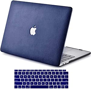 RICNUS Laptop Case for MacBook Air 13 Inch (Touch ID) 2020/2019/2018 Release ( Model A2179/A1932) Leather Hard Shell Cover Compatible Newest MacBook Air 13 inch.(Navy Blue Leather)