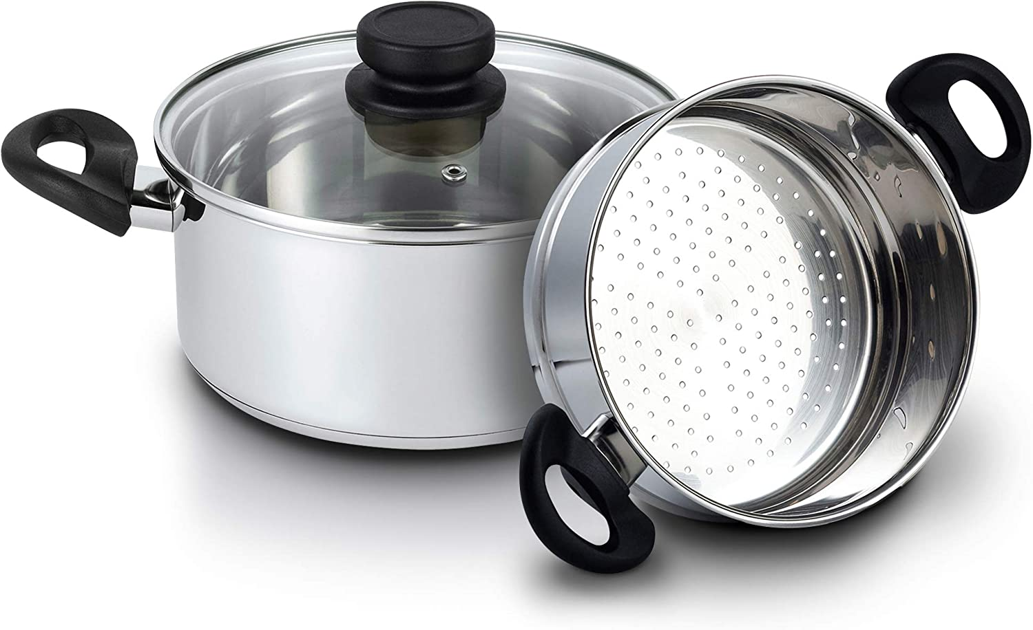Amazon Com Nevlers Stainless Steel 3 Quart Steamer Pot With 2 Quart Steamer Insert And Glass Vented Lid 3 Piece Set Safe And Durable Great Addition To Every Kitchen Kitchen Dining