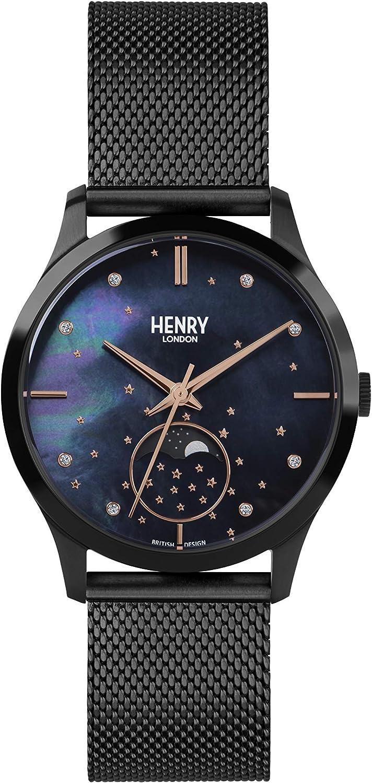 Henry London Reloj Fase Lunar para Unisex Adultos de Cuarzo con Correa en Acero Inoxidable HL35-LM-0326