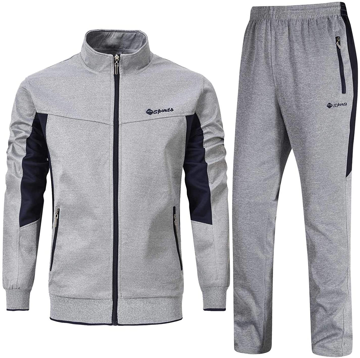 Mens Tracksuit Sweatsuit Jacket Trousers Running Sports Jogging Suits Sweatpants