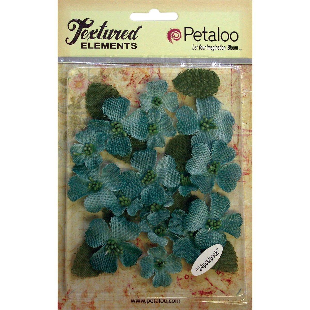PETALOO 1211-253 Textured Elements canvas Dogwood Blossoms 1 - 1.5 24/Pkg-Antique Blue by PETALOO B01FGG2CSA