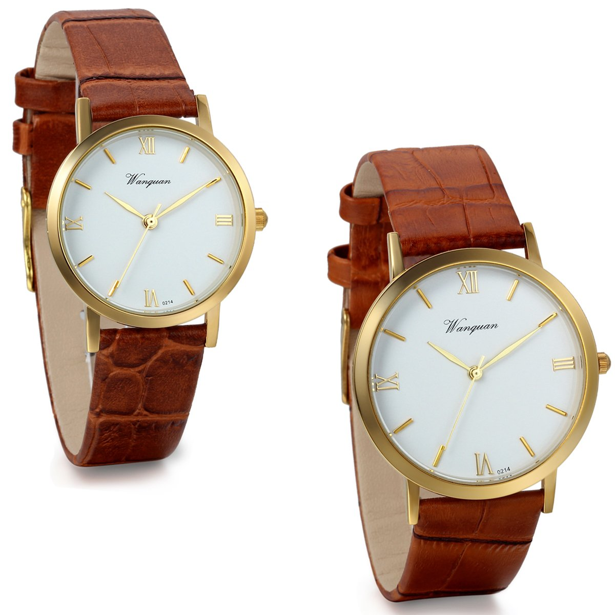 JewelryWe 2pcs of Couple His and Hers Wrist Watches Anniversary Valentine Gift Sets with Coffee Leather Band