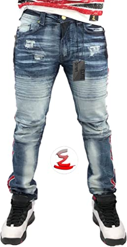 Unastar Mens Comfort Vintage Wash Ripped Slim-Tapered Denim Pants