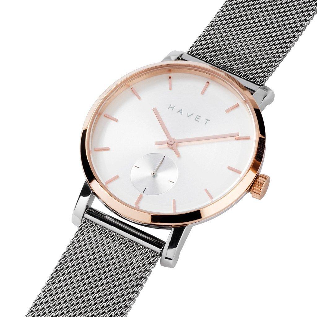 HAVET | Reloj de mujer Adra de acero y oro rosa con brazalete de malla: Amazon.es: Relojes