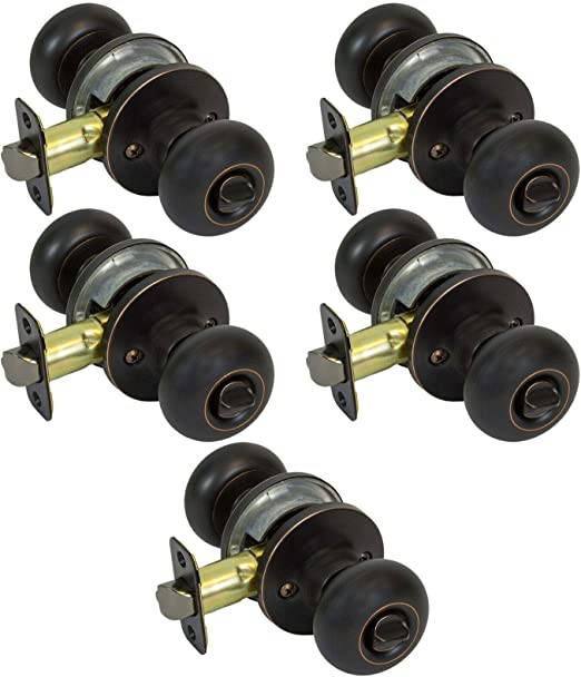 5 Pack of Round Mushroom Bed and Bath Privacy Door Knobs Oil Rubbed Bronze