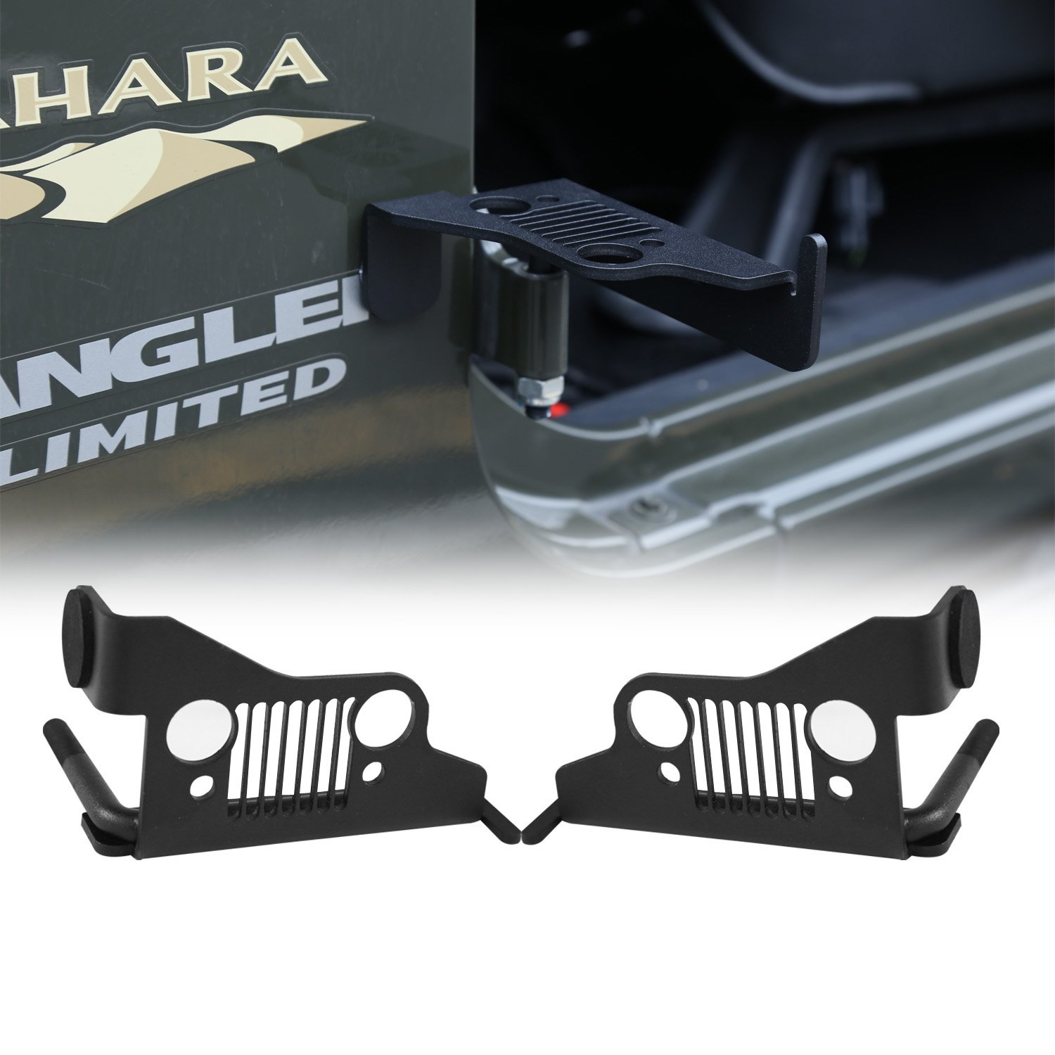 cartaoo Foot Pegs Solid Steel Black Foot Rest Kick Panel for 2007-2017 Jeep Wrangler JK & Unlimited (2pcs in 1pack) (Grill Style)