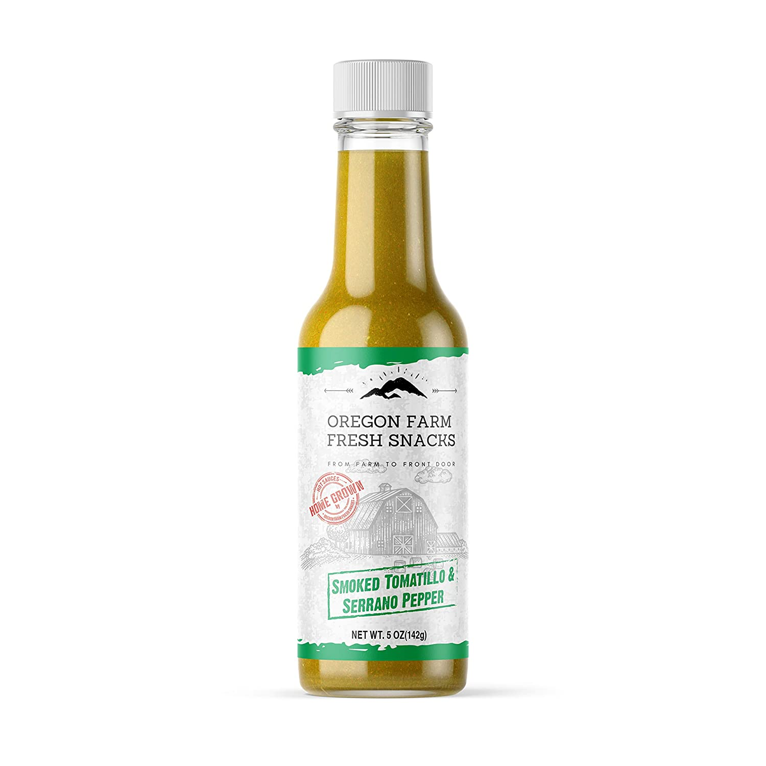 Oregon Farm Fresh Hot Sauces - Gourmet Smoked Tomatillo and Serrano Peppers Flavor Hot Sauce - Made with Wholesome Local Produce - Artisanally Crafted in Small Batches - Original Recipe - 5 Ounces
