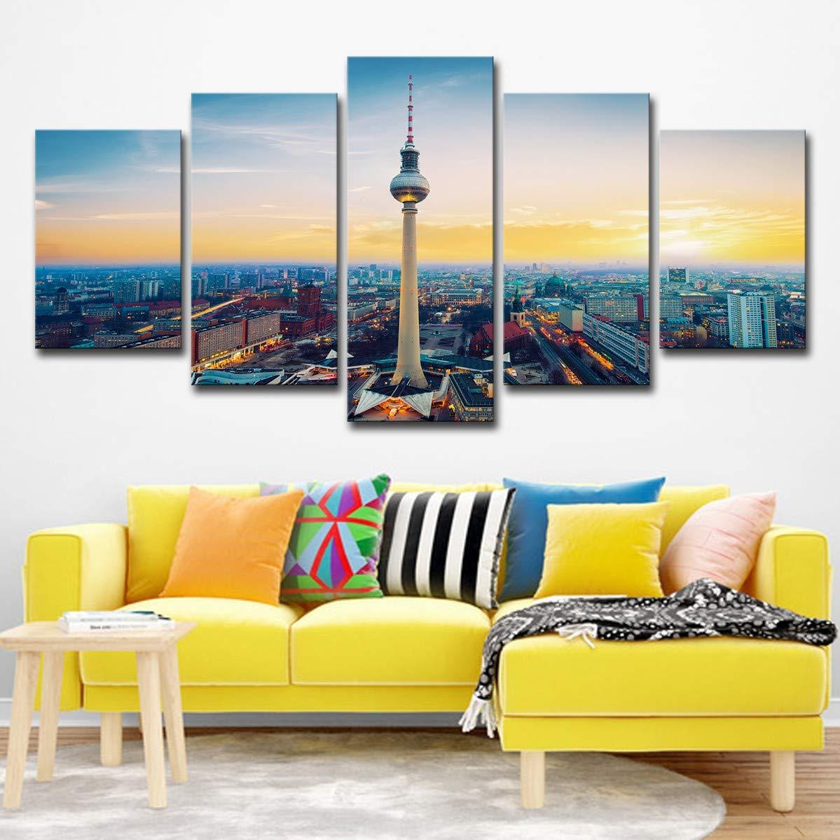 DYDONGWL Multi Panel Lienzo HD Imprime Fotos la para Arte de la Fotos Pared de la Sala 5 Piezas Pinturas TV Torre Paisaje Sala de Arte Sala de Estar decoración del hogar, 30X40cmX2 30X60cmX2 30X80cm 746d08