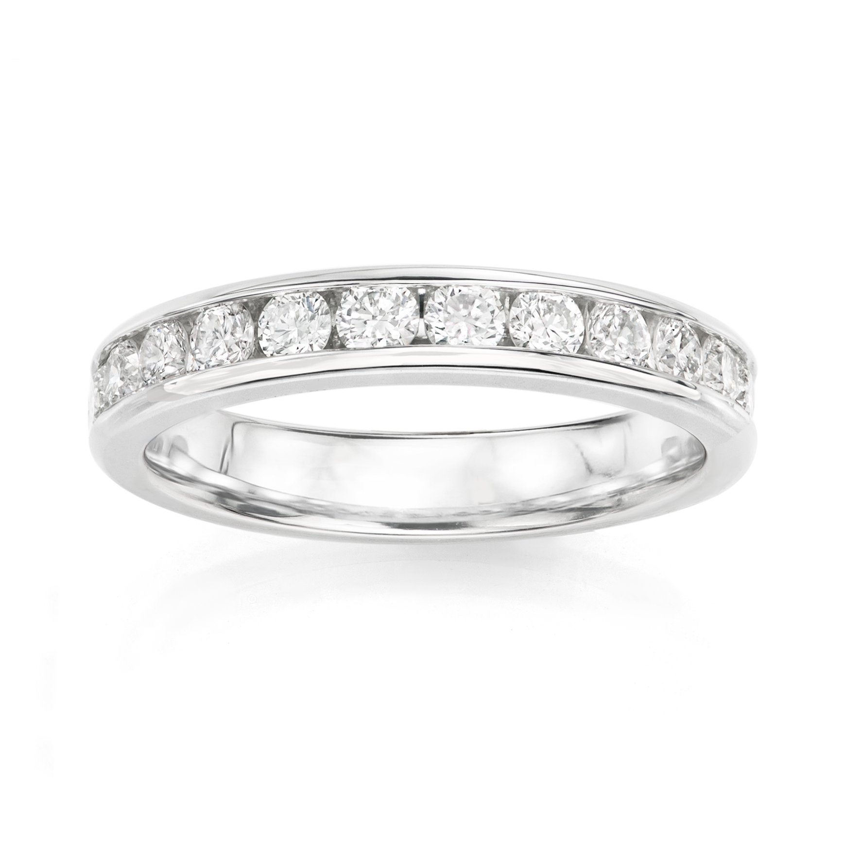 14KT White Gold 0.5ct G-I SI1/SI2 Channel Machine Set Wedding Ring